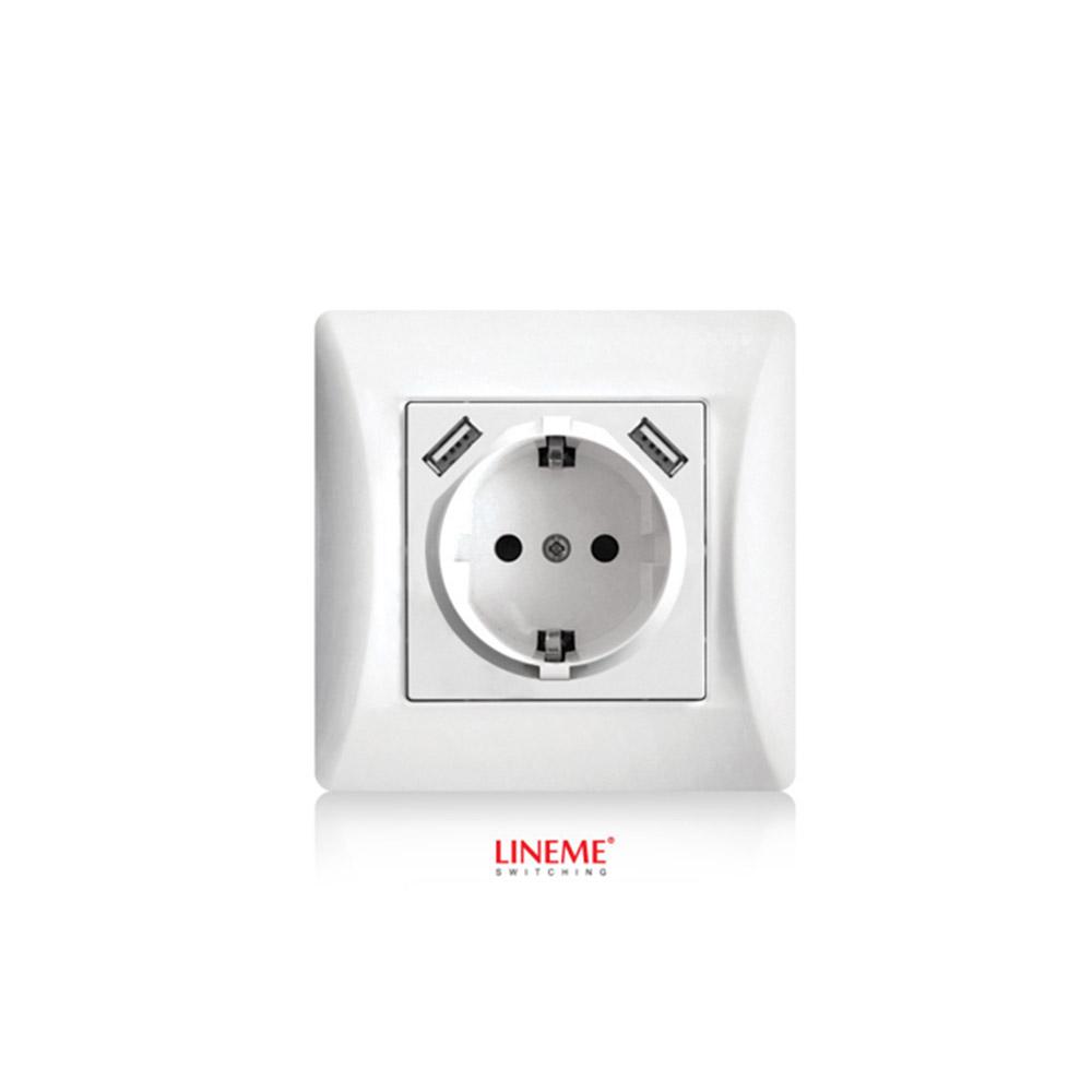 Πρίζα σούκο χωνευτή τοίχου με 2 θύρες USB 5.1VDC/2.1A Lineme Λευκό 50-00133-1