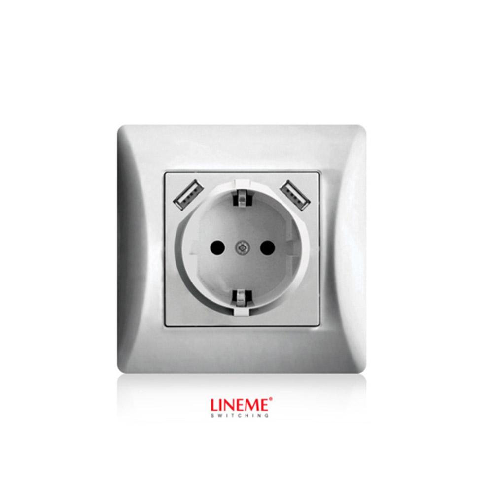 Πρίζα σούκο χωνευτή τοίχου με 2 θύρες USB 5.1VDC/2.1A Lineme Ασημί 50-00133-5