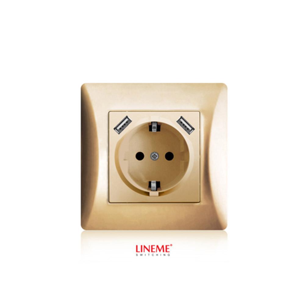 Πρίζα σούκο χωνευτή τοίχου με 2 θύρες USB 5.1VDC/2.1A Lineme Χρυσό 50-00133-9