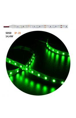 ΤΑΙΝ.LED ΛΕΥΚΗ ΑΥΤ 5m12VDC 14.4W/m 60LED/m 5050 GREEN IP20