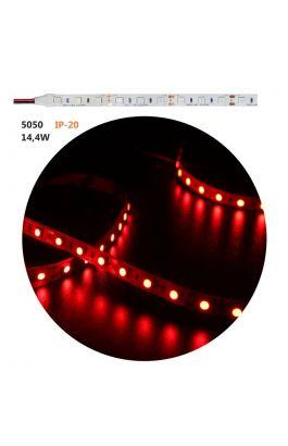 ΤΑΙΝΙΑ LED ΑΥΤΟΚΟΛΛΗΤΗ 5m 24VDC 14,4W/m 60LED/m RED IP20